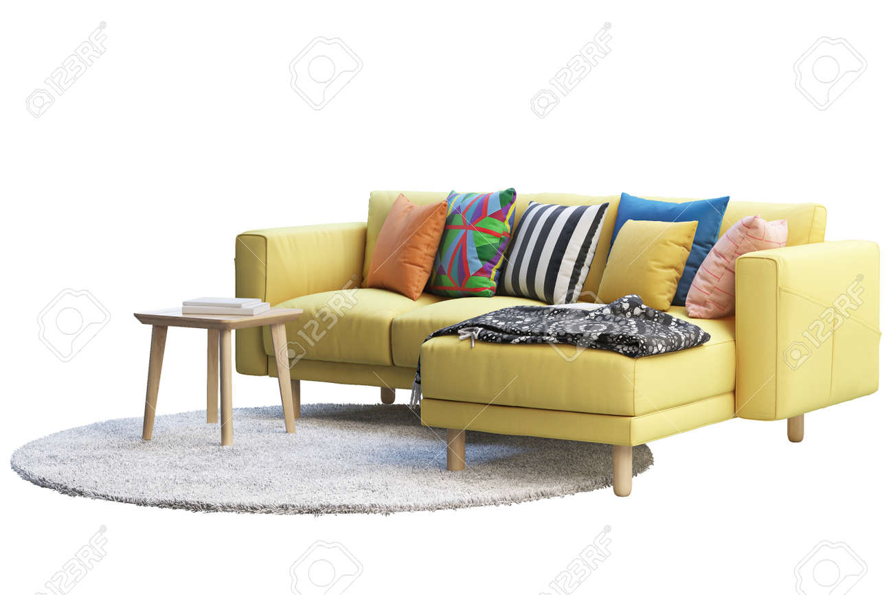 - 3d Render Of Yellow Fabric Sofa With Chaise Lounge. Gray Round