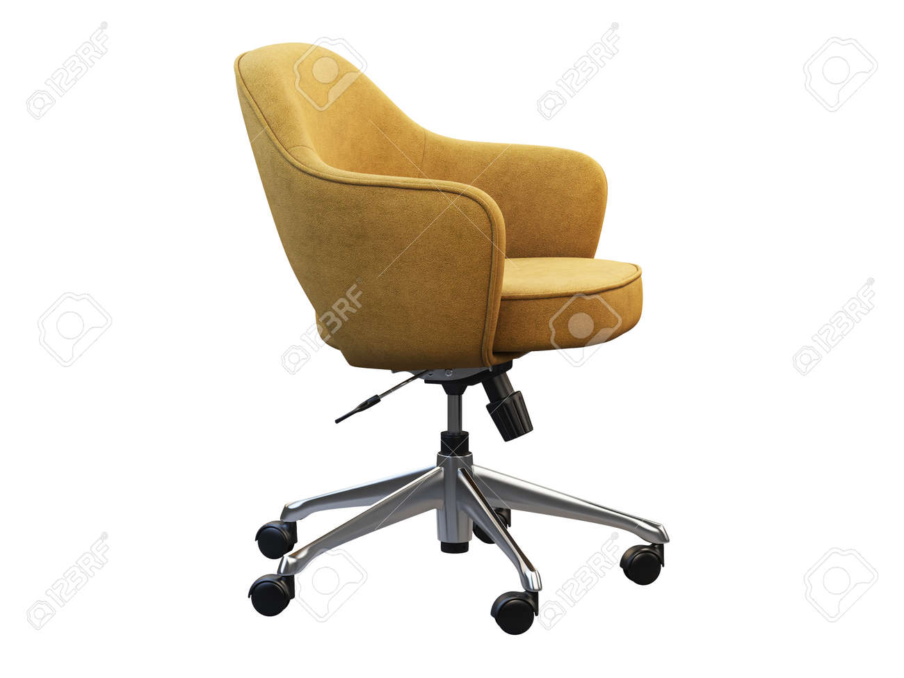 Image of: Orange Fabric Task Armchair With Chromium Base On White Background Stock Photo Picture And Royalty Free Image Image 139651558