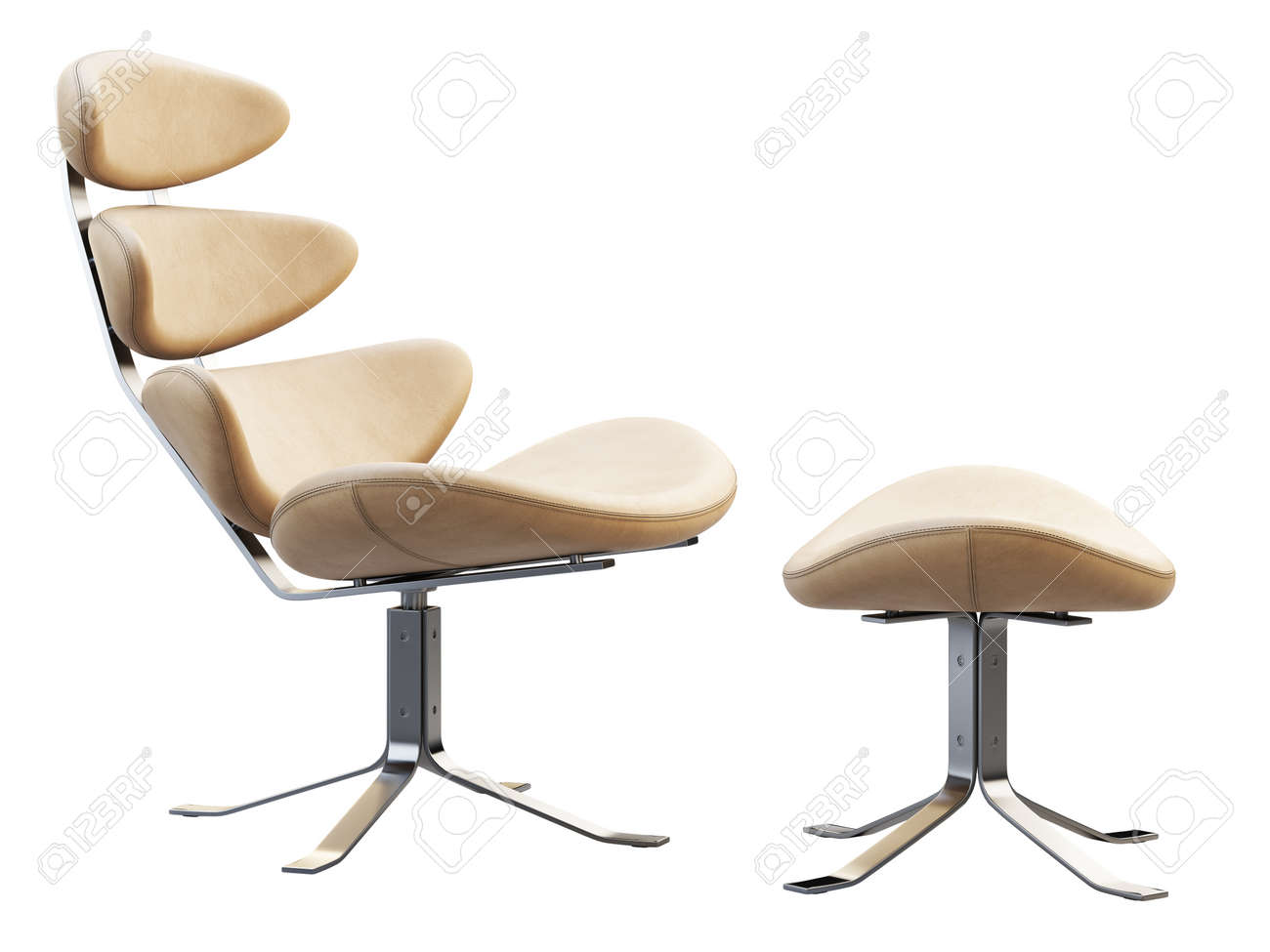 Mid Century Modern Beige Leather Chair With Chromium Base Leather Stock Photo Picture And Royalty Free Image Image 139898672