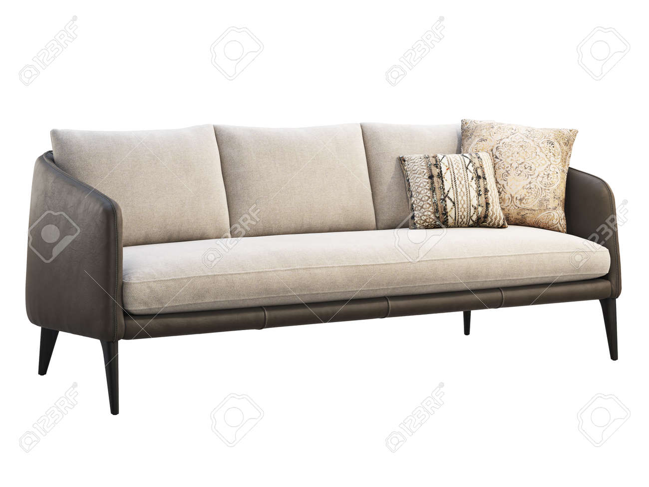 - Dark Brown Leather Sofa With Light Cushion And Pillows On White