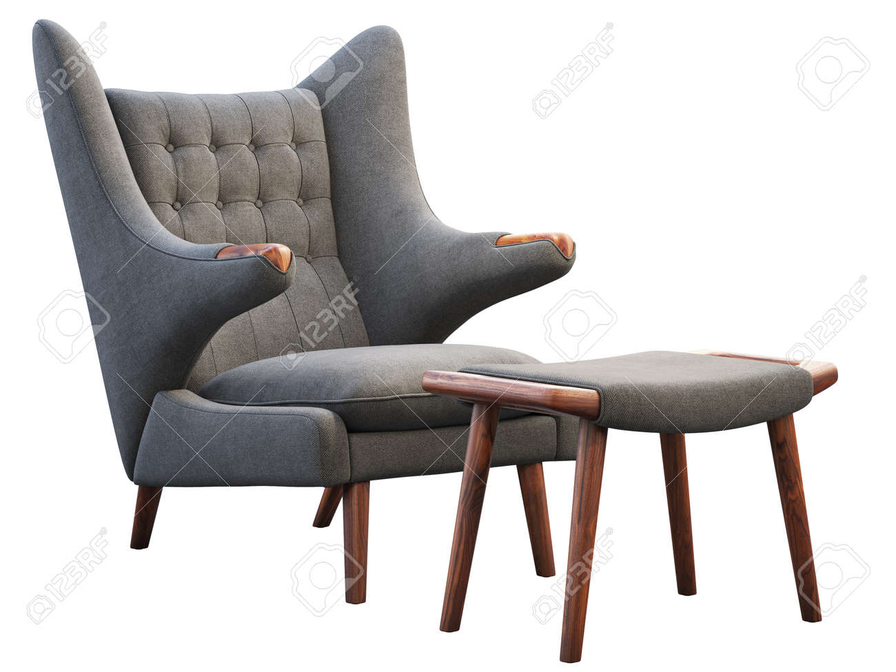 photo mid century gray fabric wing chair and footrest fabric upholstery armchair with wooden legs on white