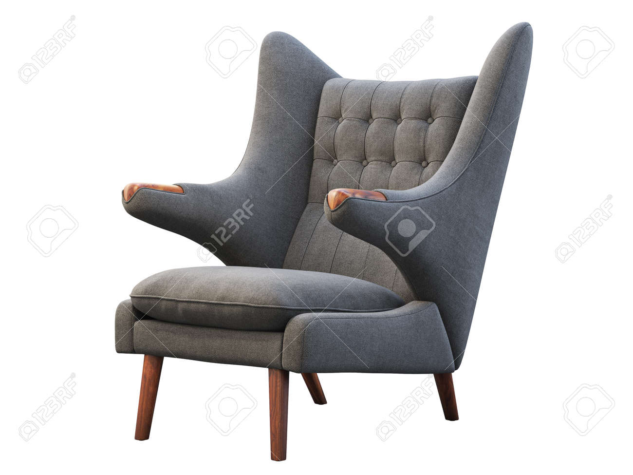 photo mid century gray fabric wing chair fabric upholstery armchair with wooden legs on white background m