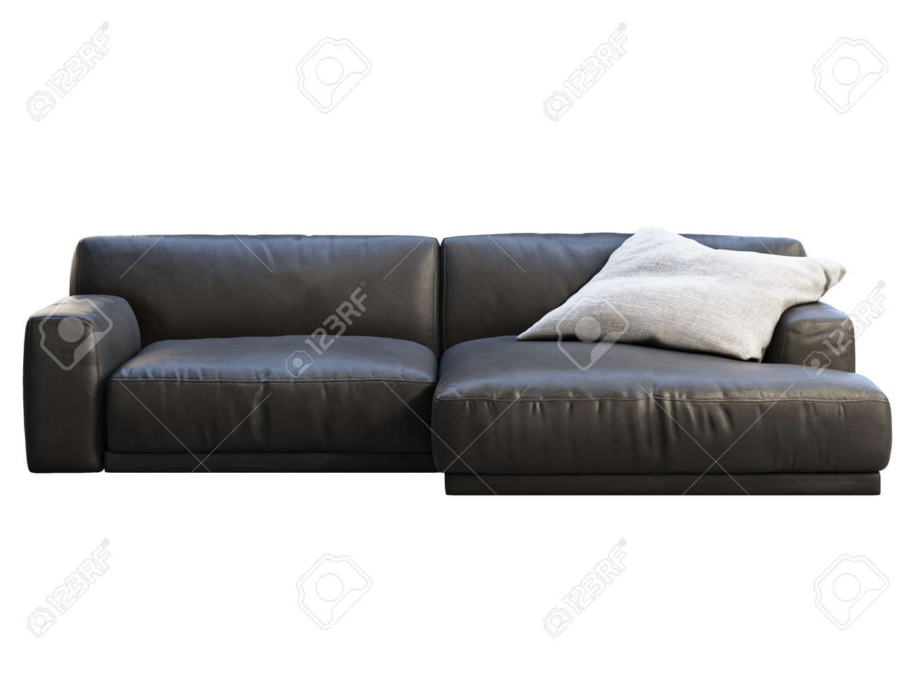 Picture of: Modern Chaise Lounge Sofa Black Leather Sofa With Gray Fabric Stock Photo Picture And Royalty Free Image Image 145879373