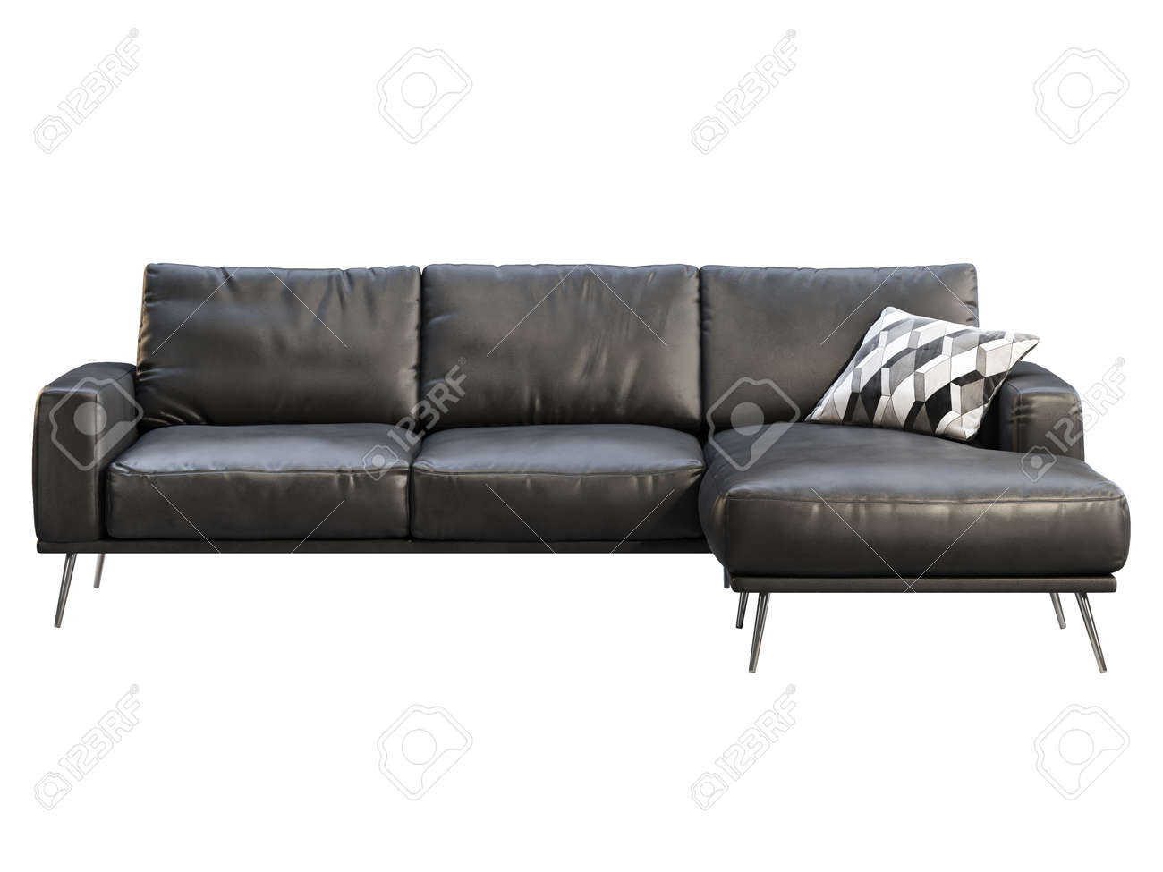 Modern Chaise Lounge Sofa Black Leather Corner Sofa With Metal Stock Photo Picture And Royalty Free Image Image 145889433