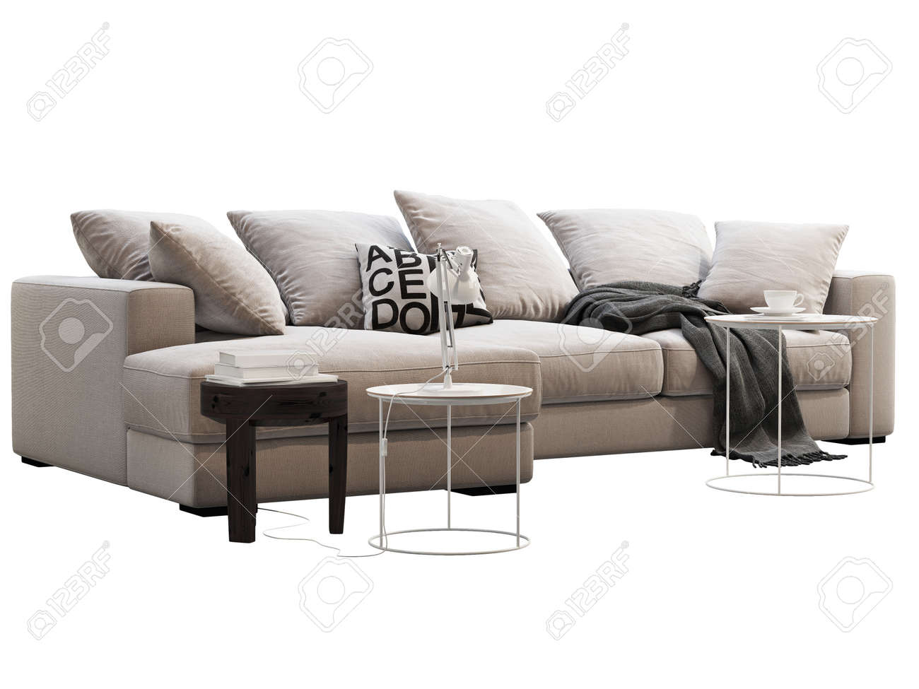 Modern Light Beige Chaise Lounge Fabric Sofa Modern Furniture Stock Photo Picture And Royalty Free Image Image 150015169