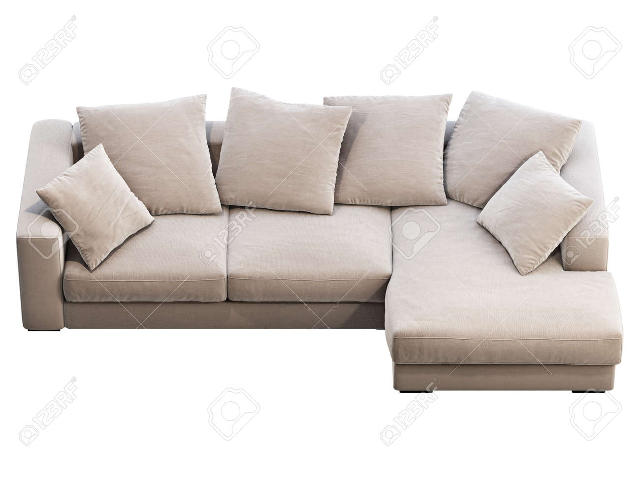 Modern Light Beige Chaise Lounge Fabric Sofa Textile Upholstery Stock Photo Picture And Royalty Free Image Image 150015580