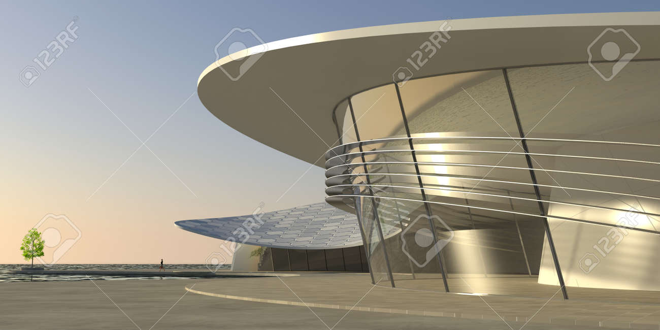 Large modern building showing spacious ultra-modern architecture Stock Photo - 22913043