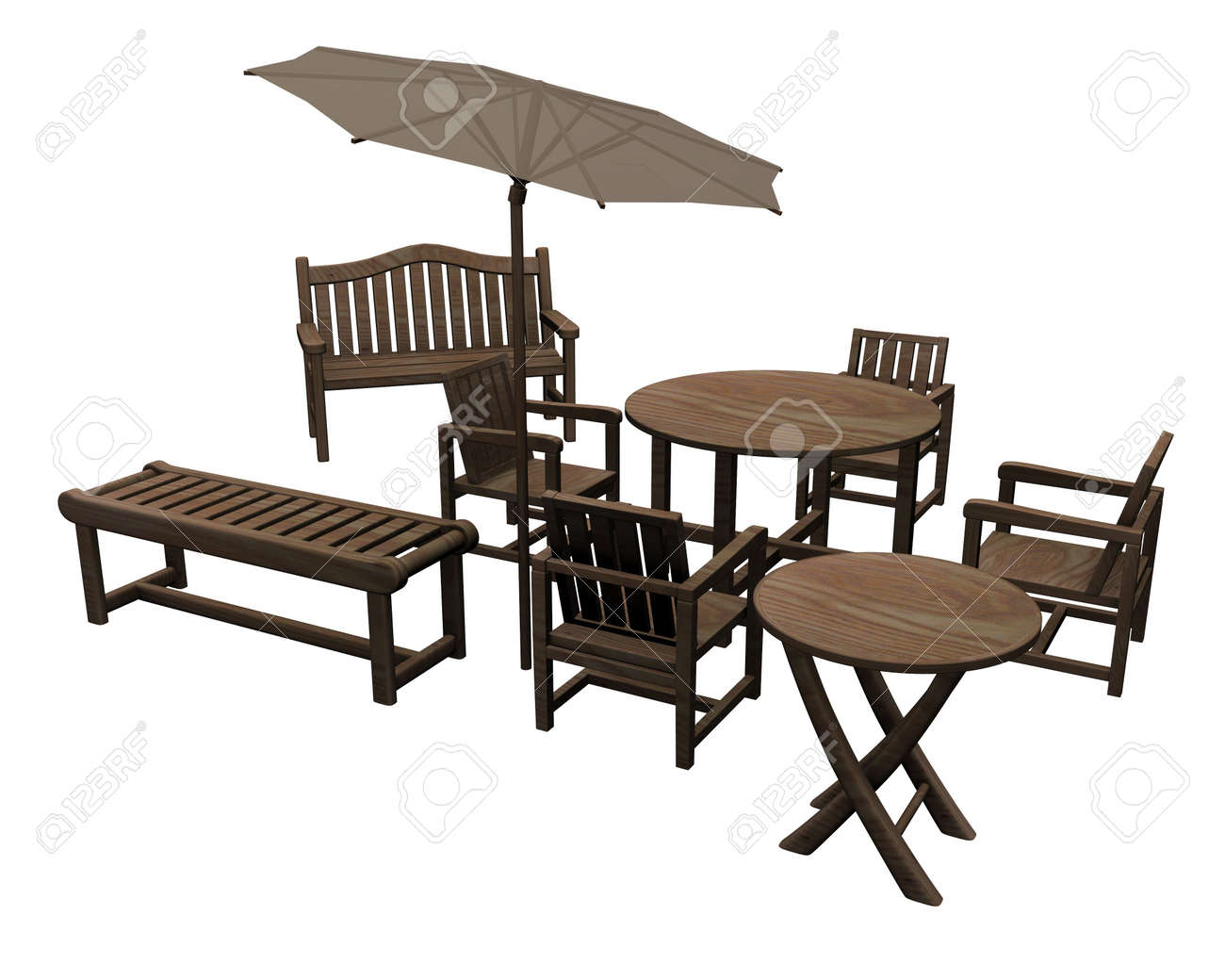 3d Render Of Garden Furniture Stock Photo   12906542