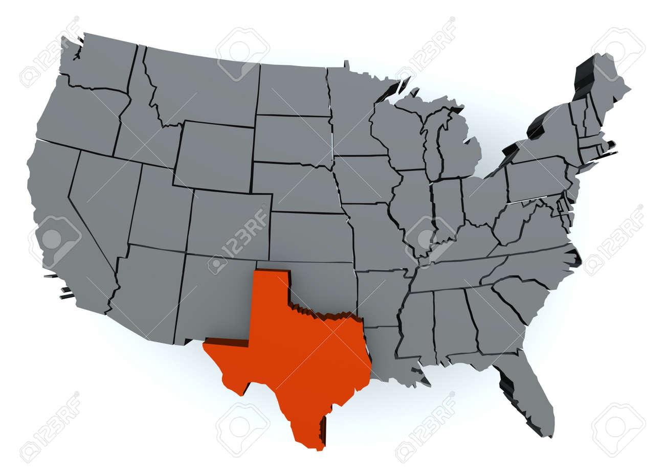 3d Map Of Texas.3d Render Of Usa Map Texas