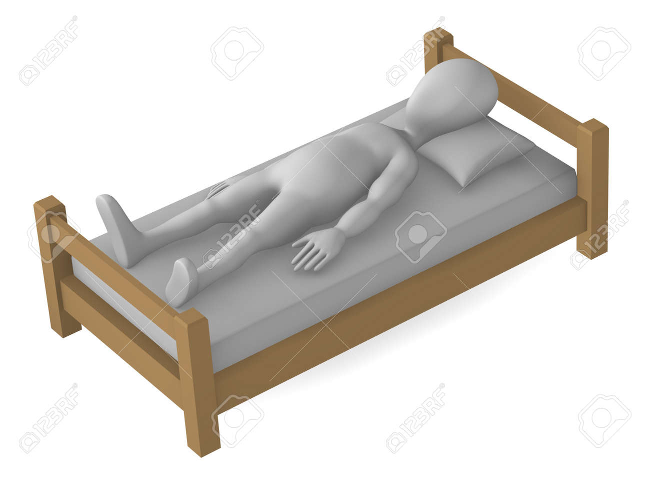 3d render of cartoon character in bed Stock Photo - 12958201