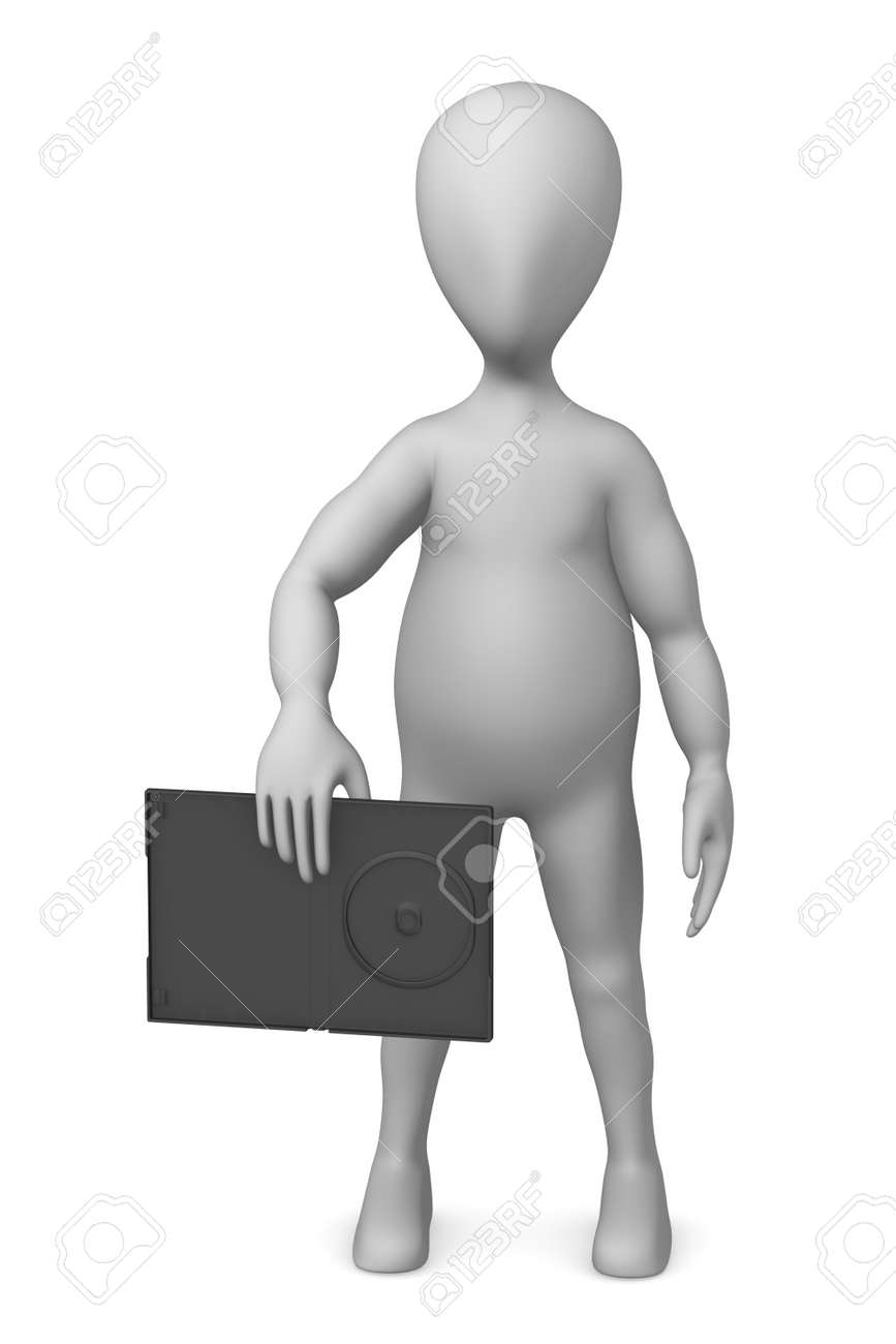 3d render of cartoon character with DVD case Stock Photo - 12919373