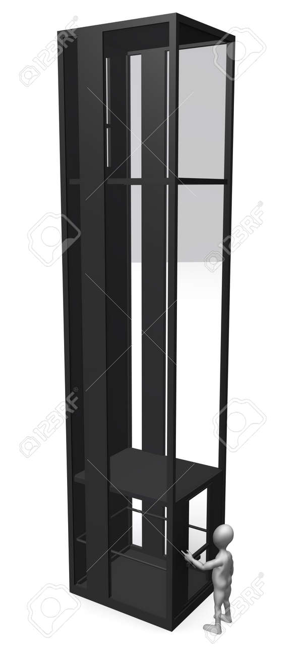 3d render of cartoon character with elevator Stock Photo - 12919876