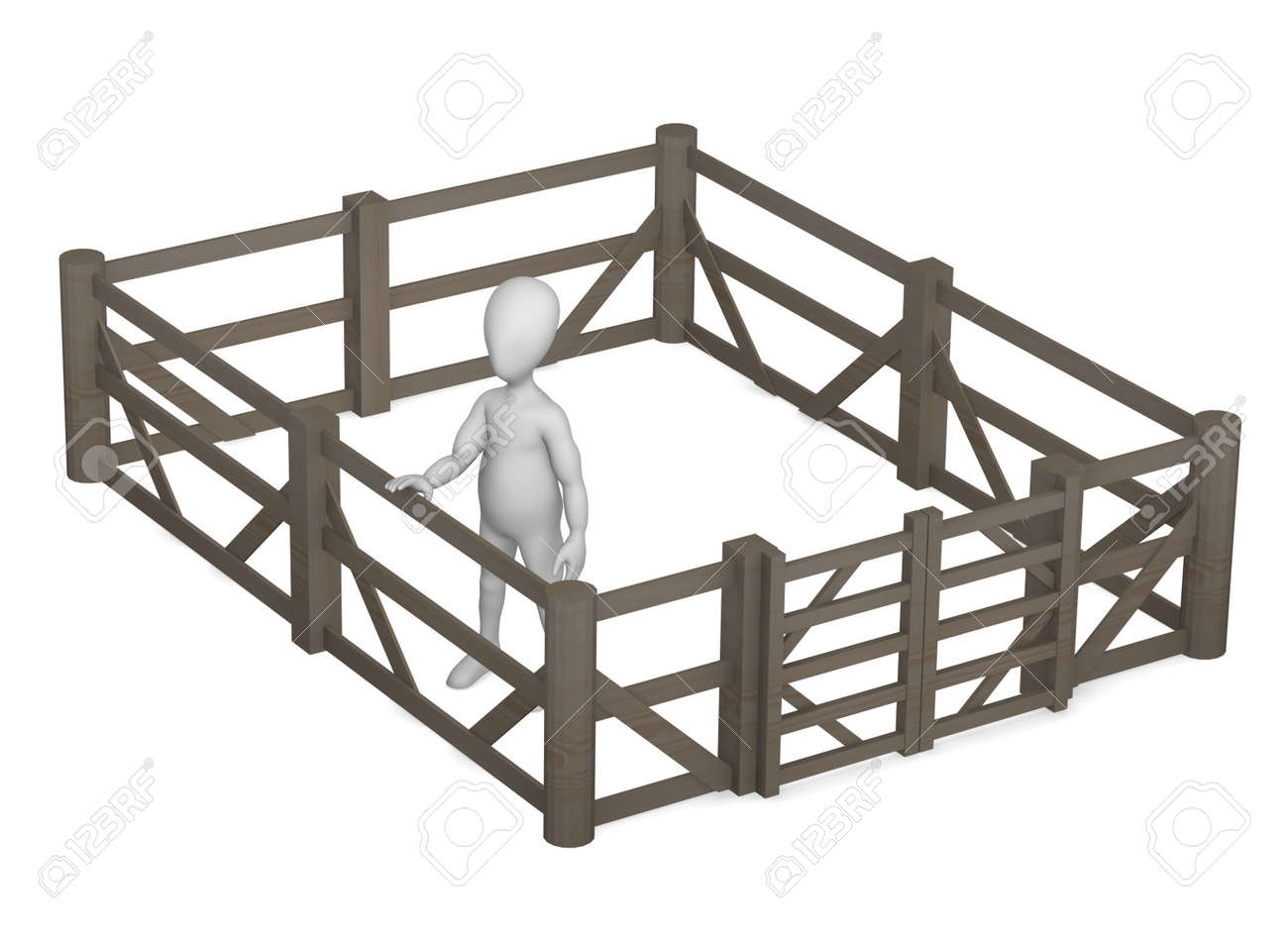 3d render of cartoon character with fence Stock Photo - 12958760
