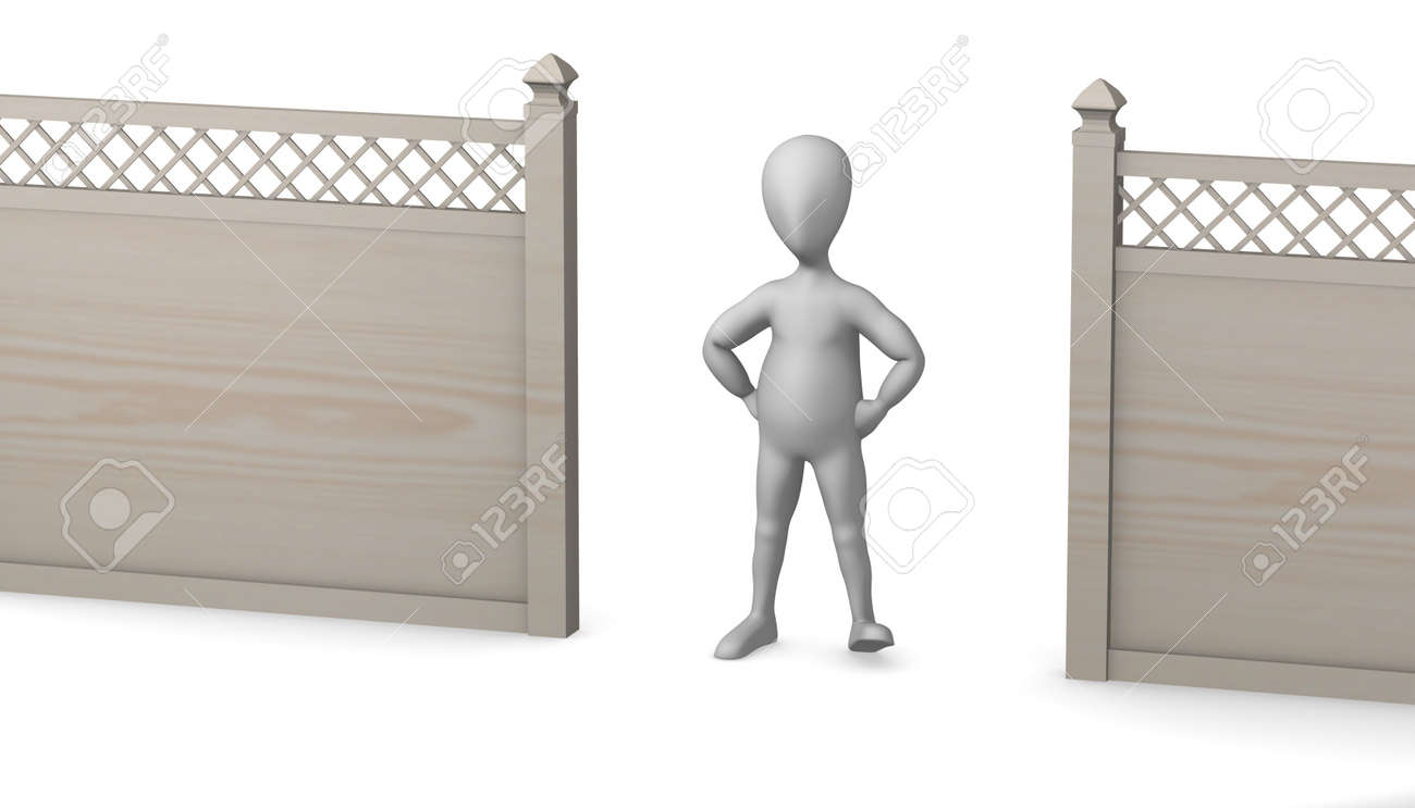 3d render of cartoon character with fence Stock Photo - 12957585
