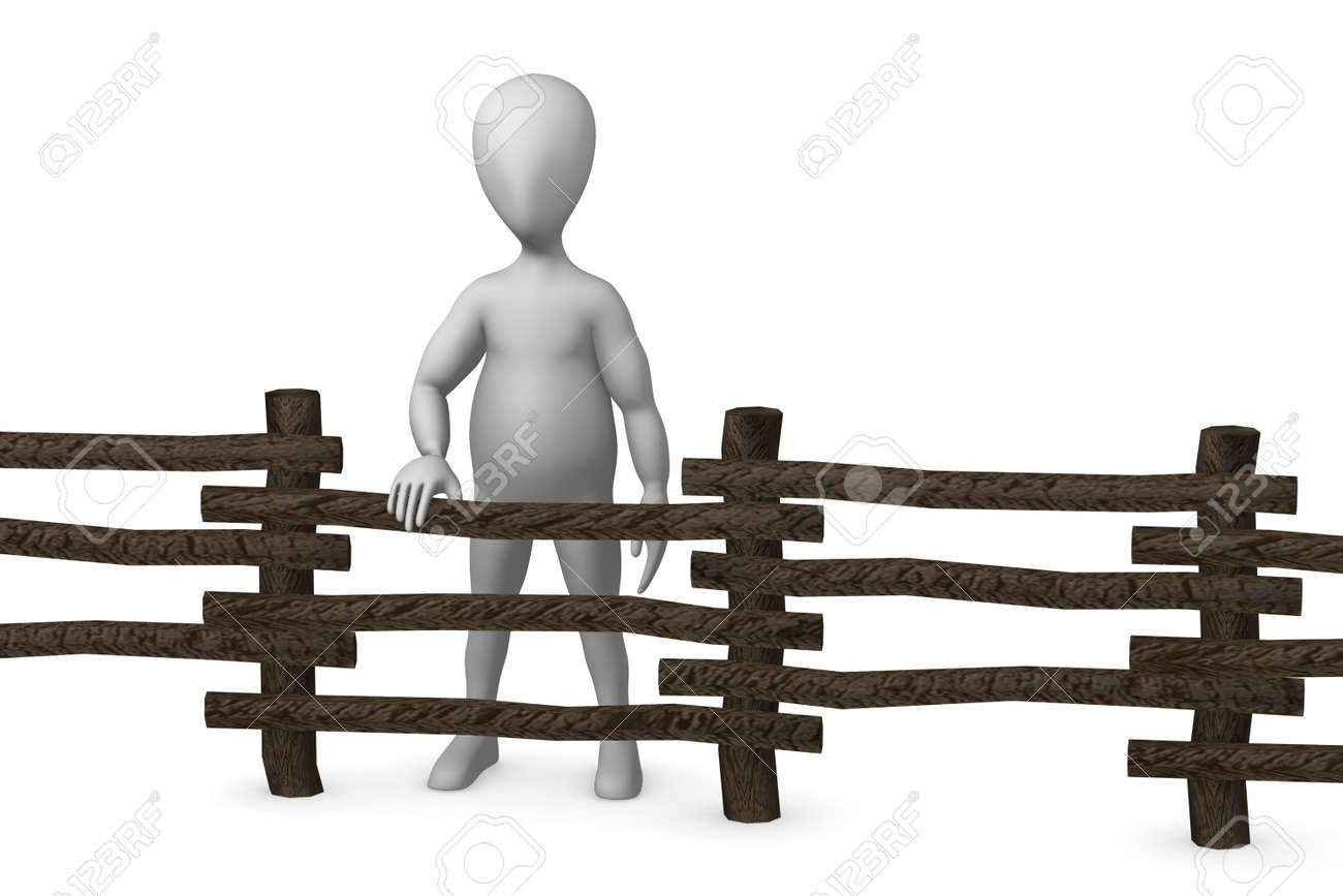 3d render of cartoon character with fence Stock Photo - 12958742