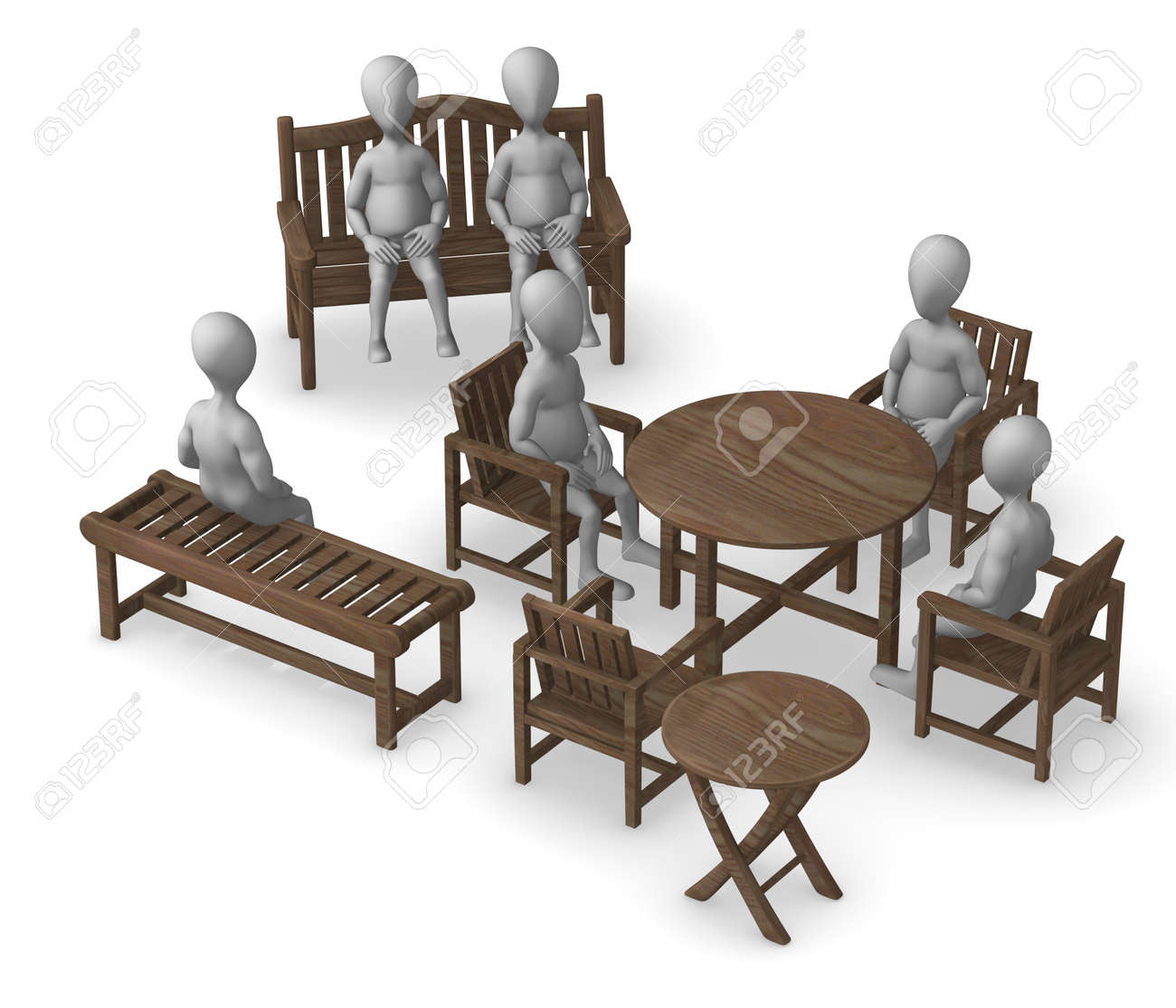3d render of cartoon character with garden furniture stock photo 12985616