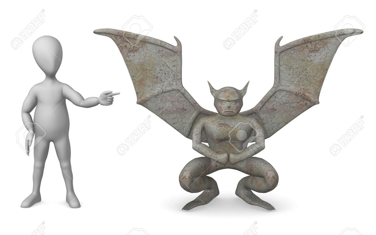 D render of cartoon character with gargoyle stock photo picture