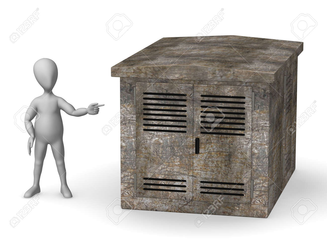 3d render of cartoon character with industrial element Stock Photo - 12986044