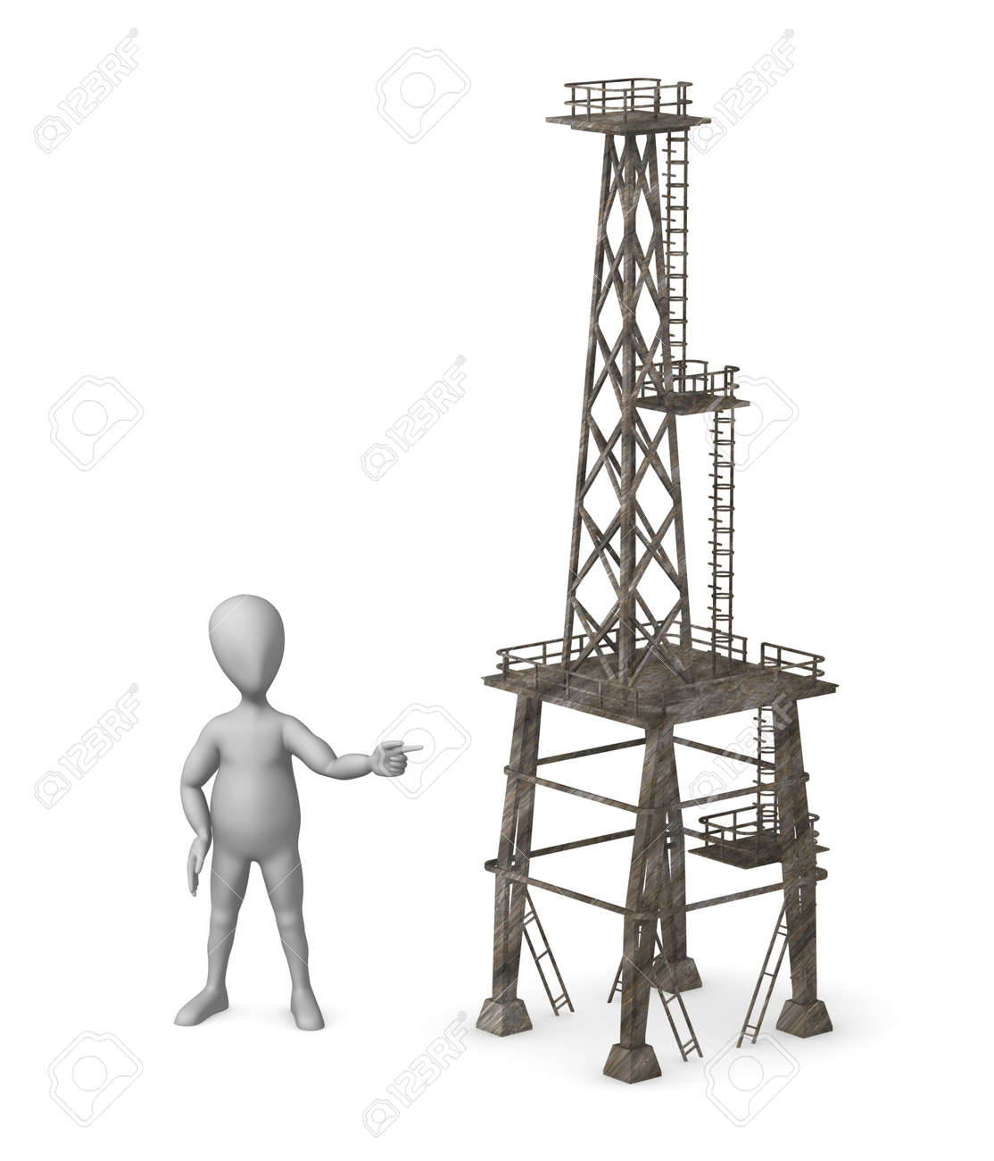 3d render of cartoon character with industrial element Stock Photo - 12985248