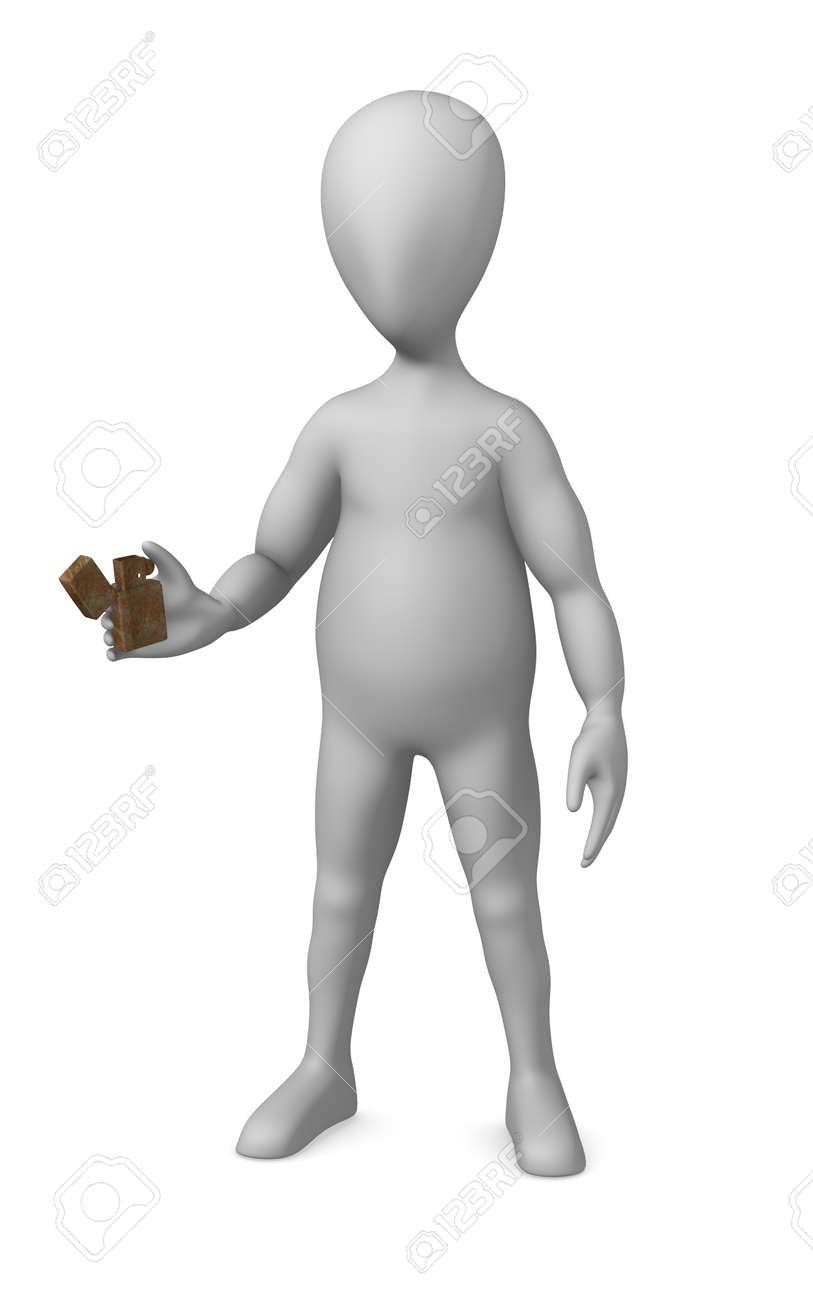 3d render of cartoon character with lighter Stock Photo - 12944886