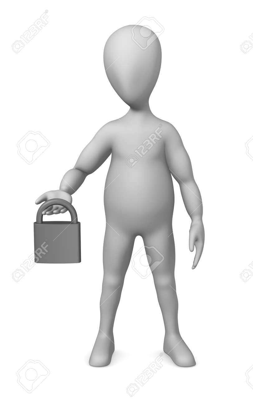3d render of cartoon character with lock Stock Photo - 12945233