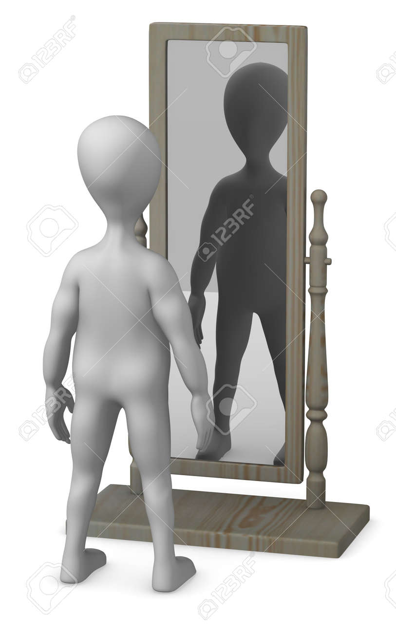 3d render of cartoon character with mirror Stock Photo - 12959515