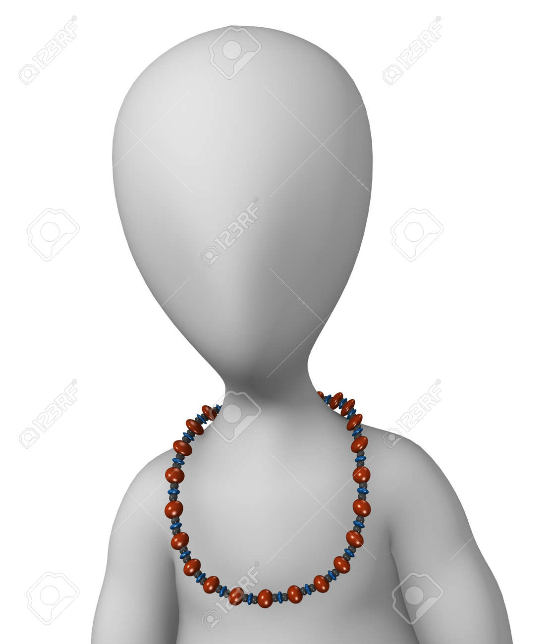 3d render of cartoon character with necklace Stock Photo - 12969180