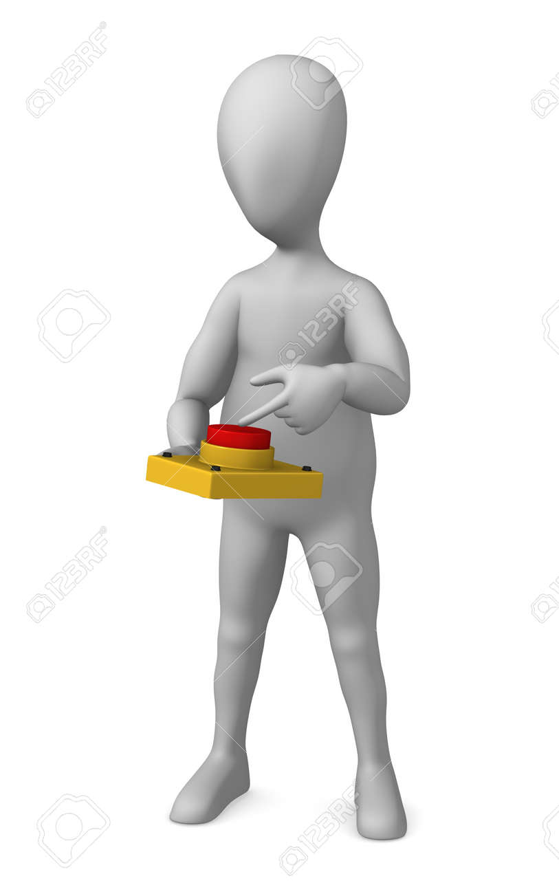 3d render of cartoon character with red button Stock Photo - 12971047