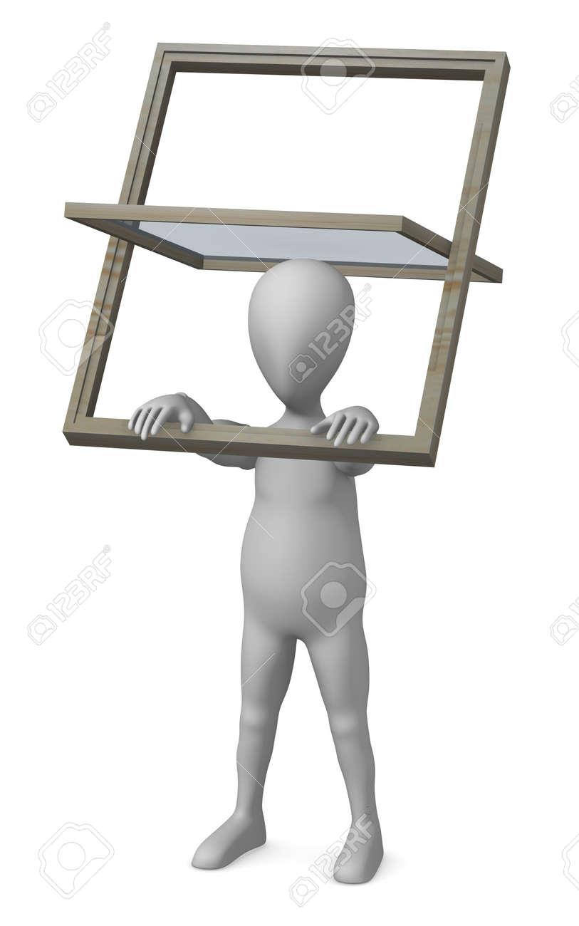 banque dimages rendu 3d de personnage de dessin anim avec fentre de toit