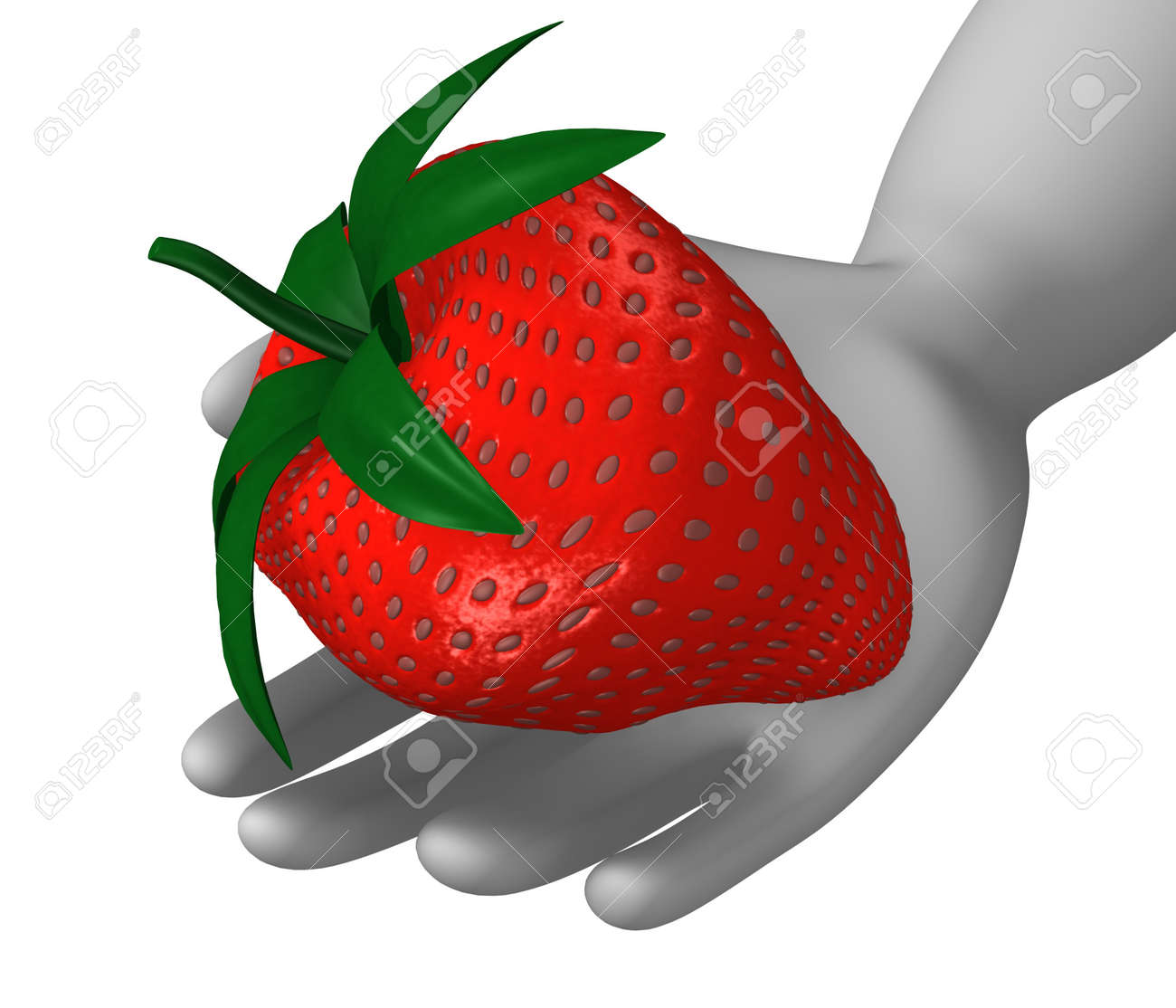 D render of cartoon character with strawberry stock photo