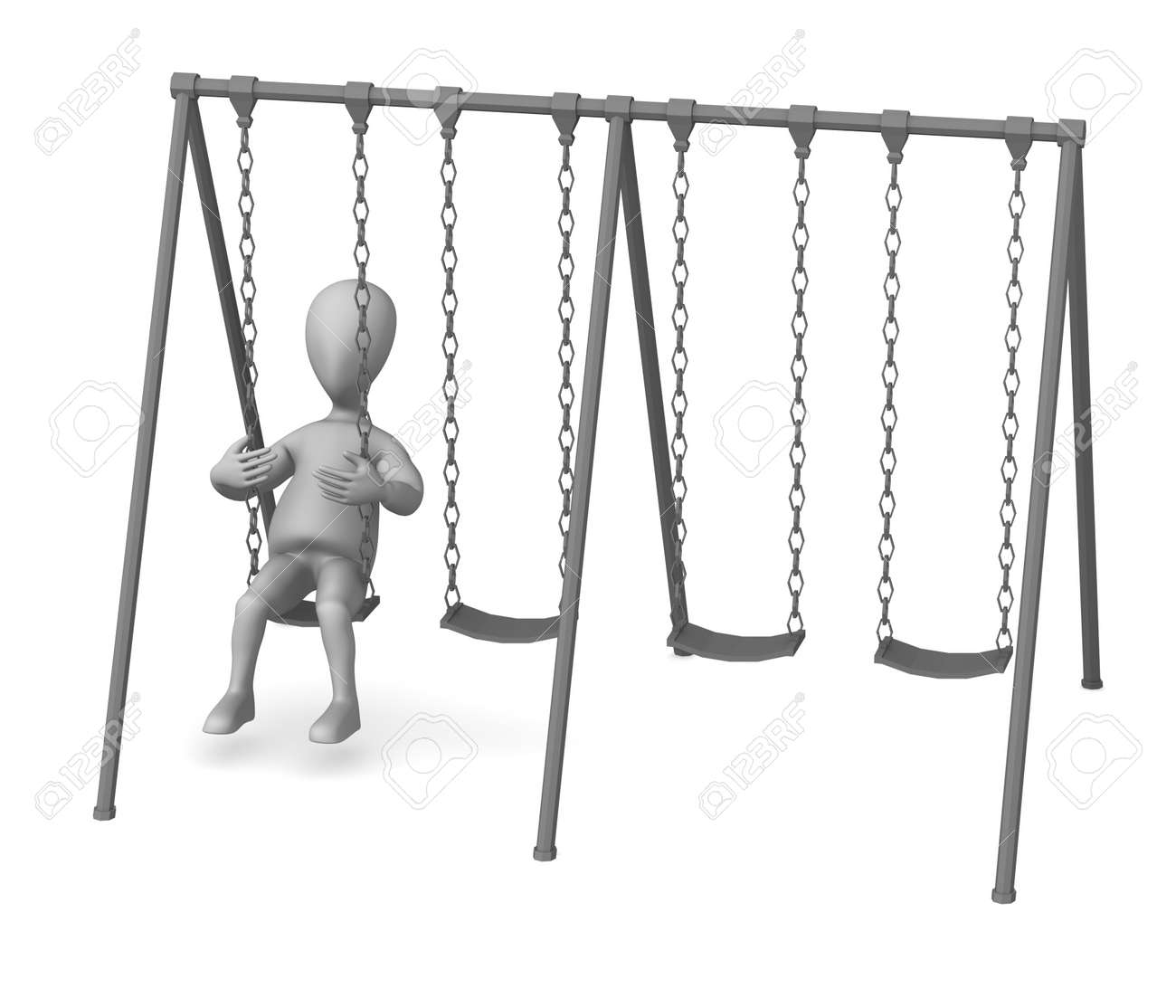 Dessin Balançoire rendu 3d de personnage de dessin animé avec balançoire banque d