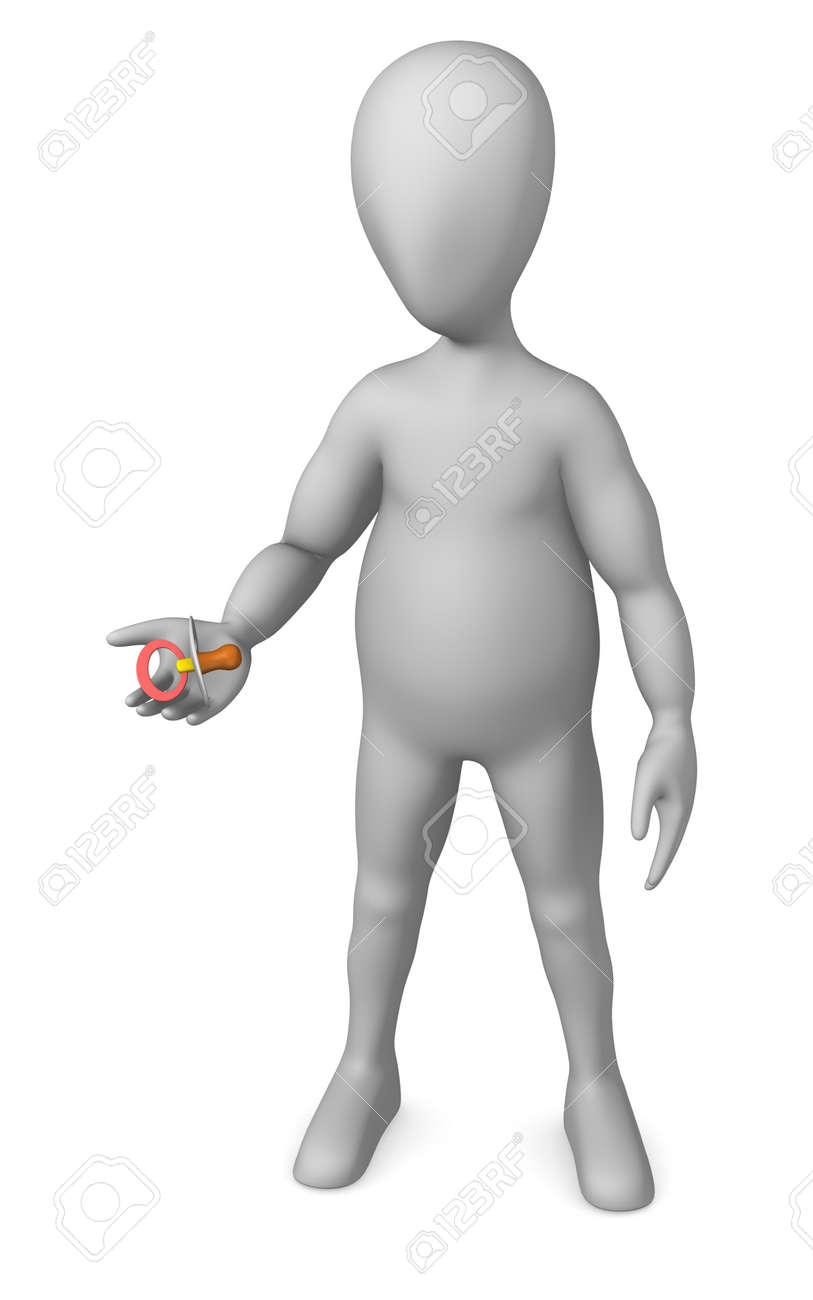 3d render of cartoon character with teat Stock Photo - 12970208