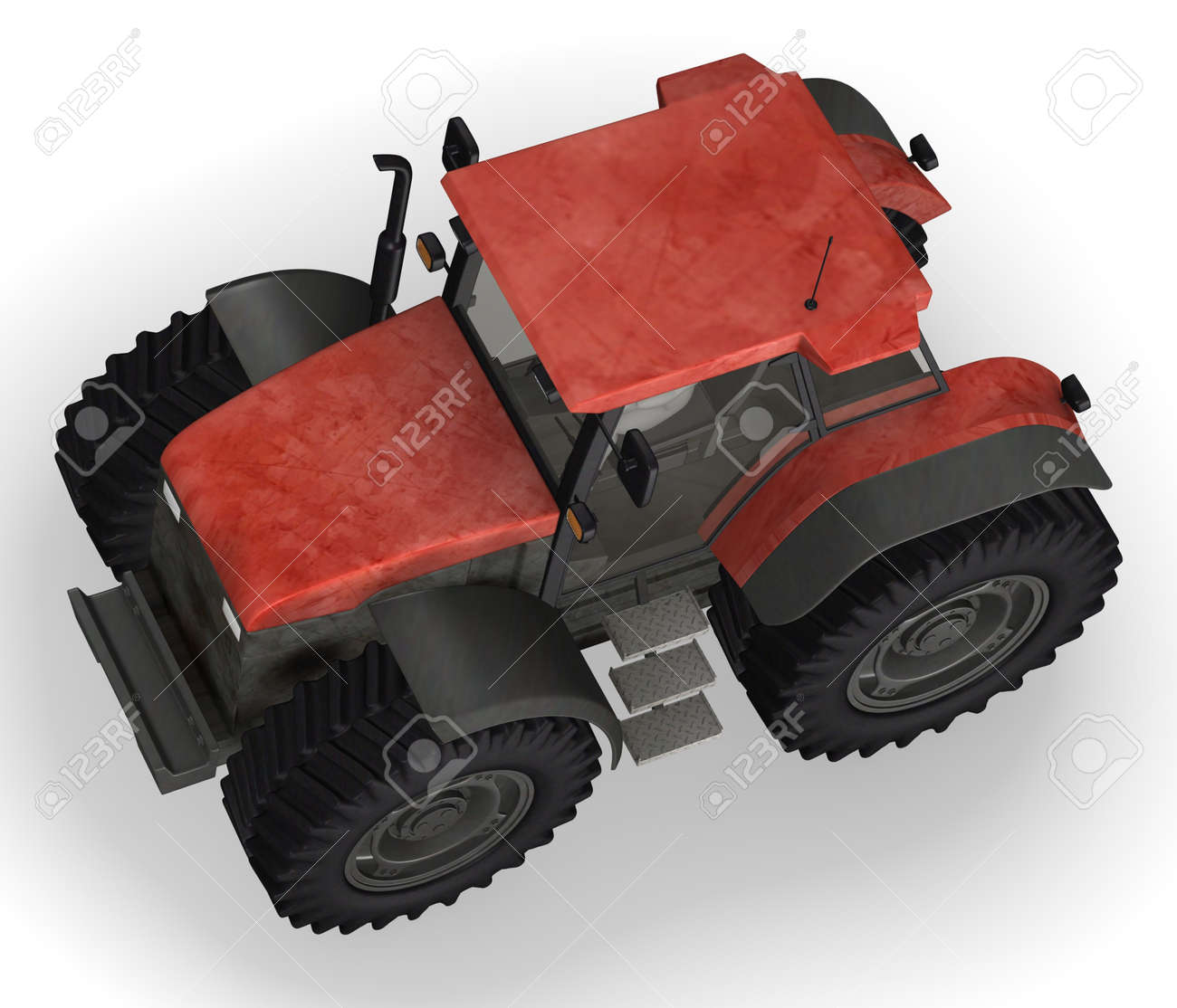 3d render of cartoon character with tractor machine Stock Photo - 12967482