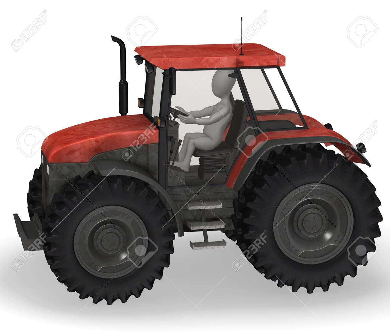 3d render of cartoon character with tractor machine Stock Photo - 12967472