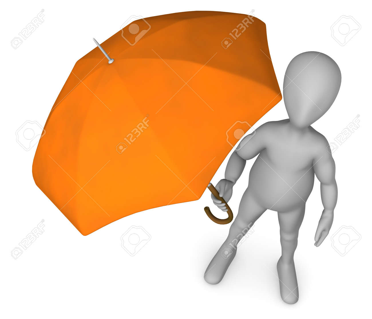 3d render of cartoon character with umbrella Stock Photo - 12969069