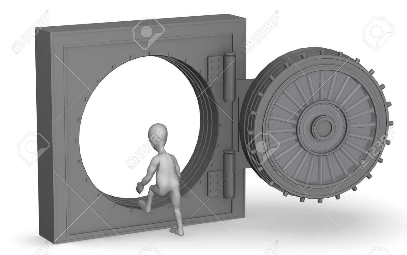3d render of cartoon character with vault Stock Photo - 12967617