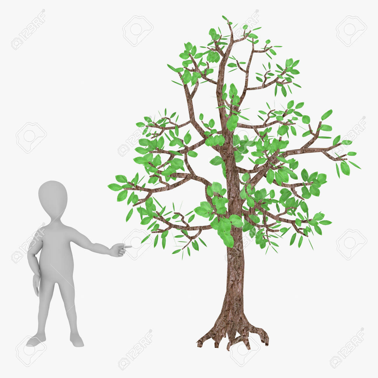 3d Render Of Cartoon Character With Tree Stock Photo Picture And Royalty Free Image Image 13722394 Simple tree 3d model in cartoon style. 123rf com