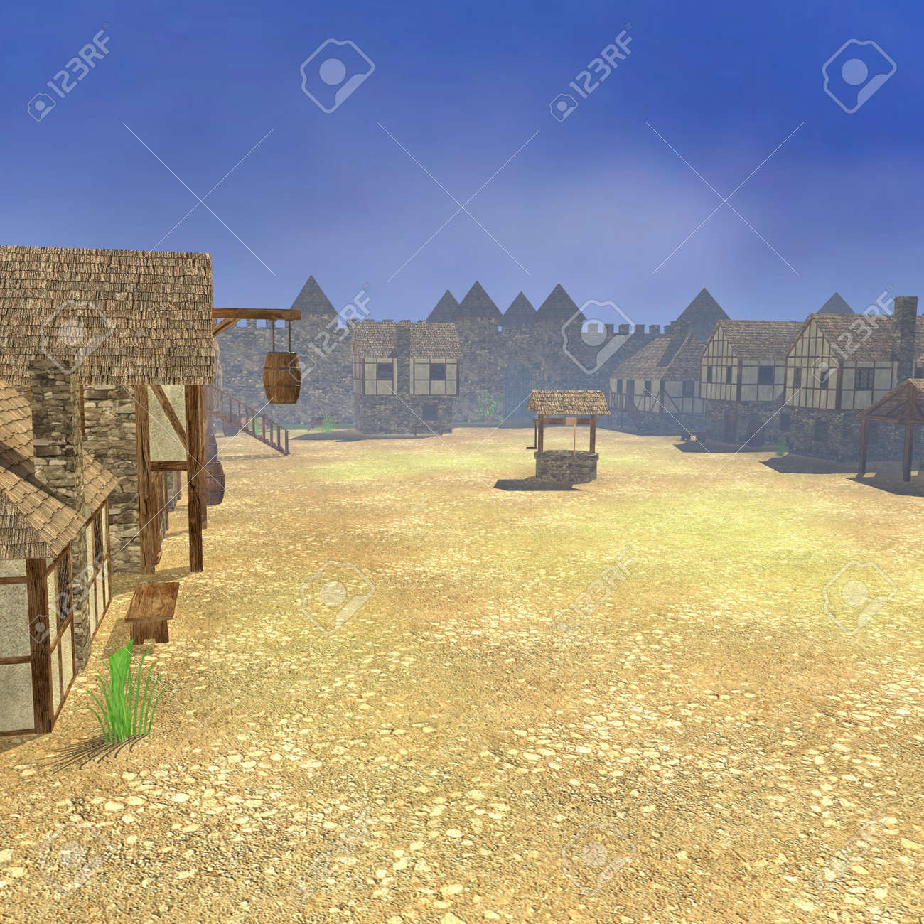 3d render of medieval town Stock Photo - 13746160