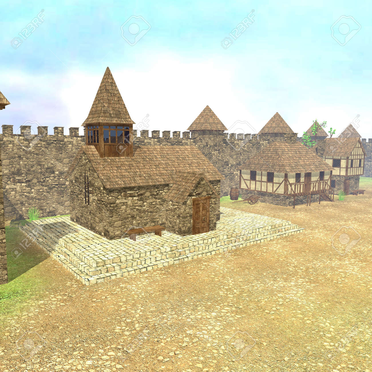 3d render of medieval town Stock Photo - 13746176