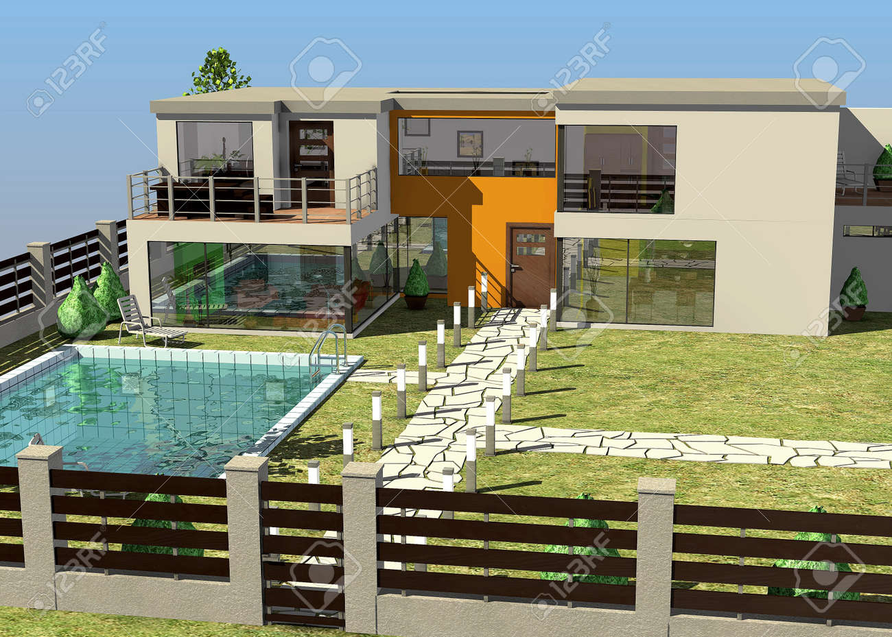 3d render of modern house architecture stock photo 13746146