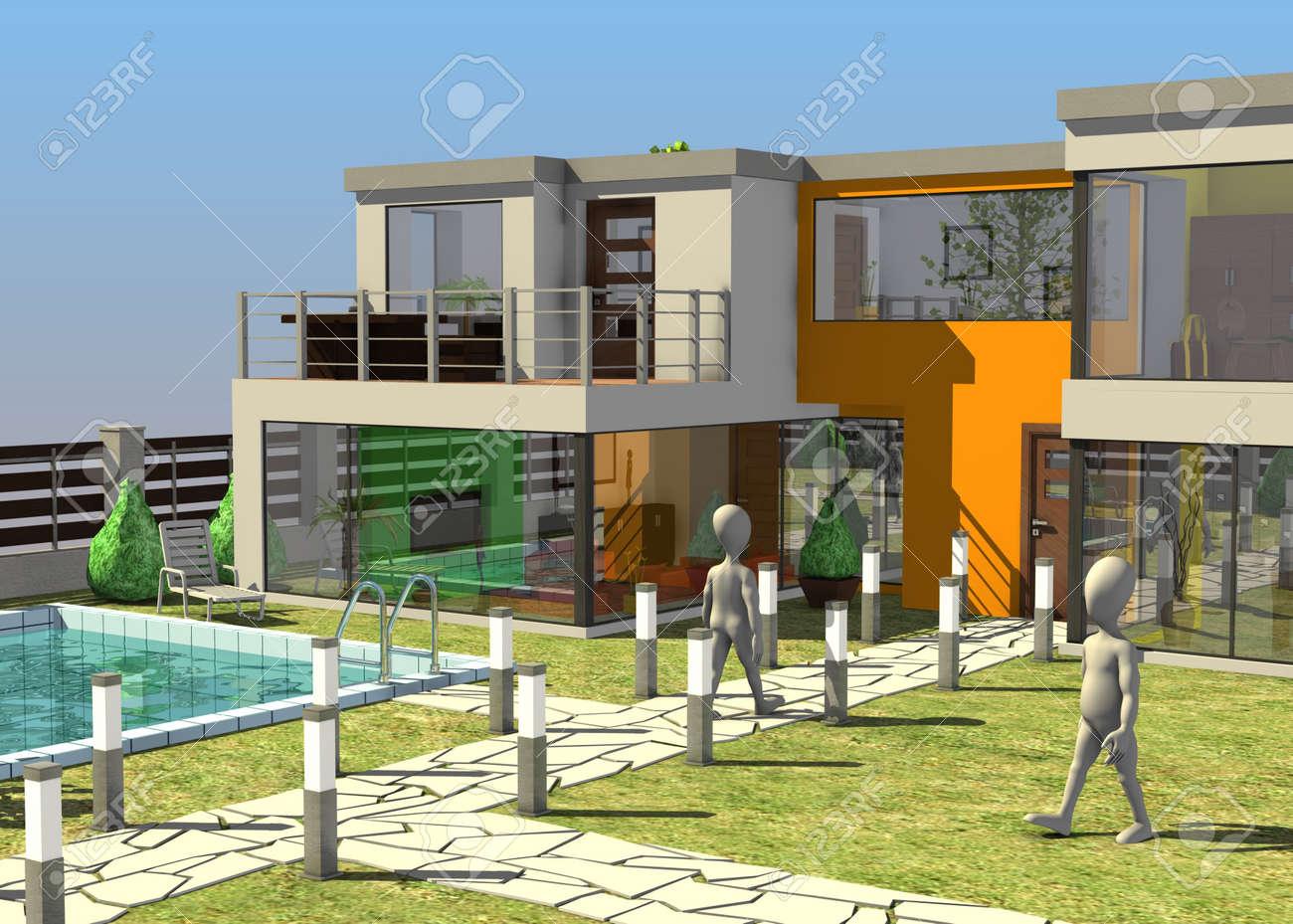 banque dimages rendu 3d de personnage de dessin anim avec la maison moderne - Maison Moderne Dessin