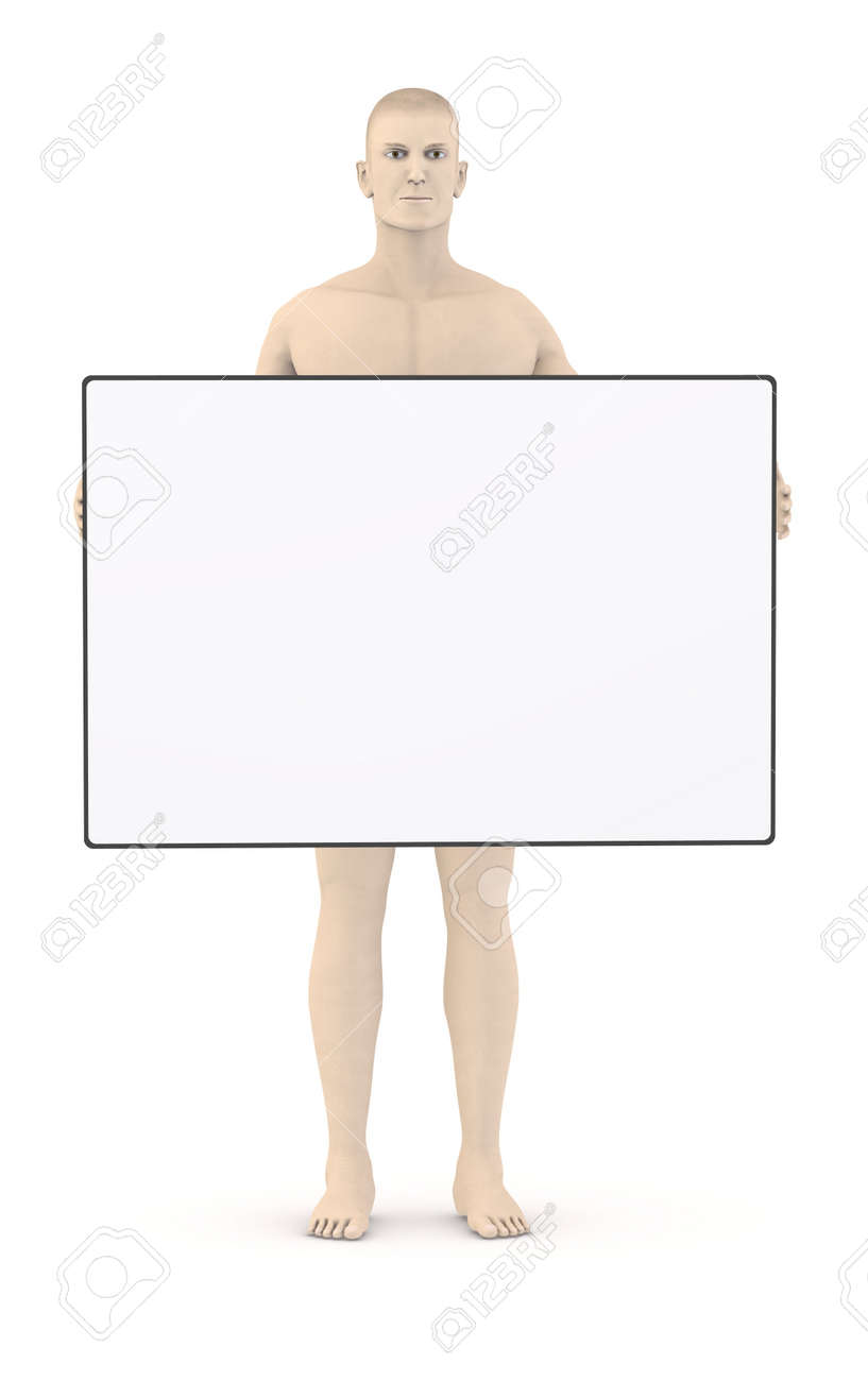 3d render of artifical character with empty template stock photo