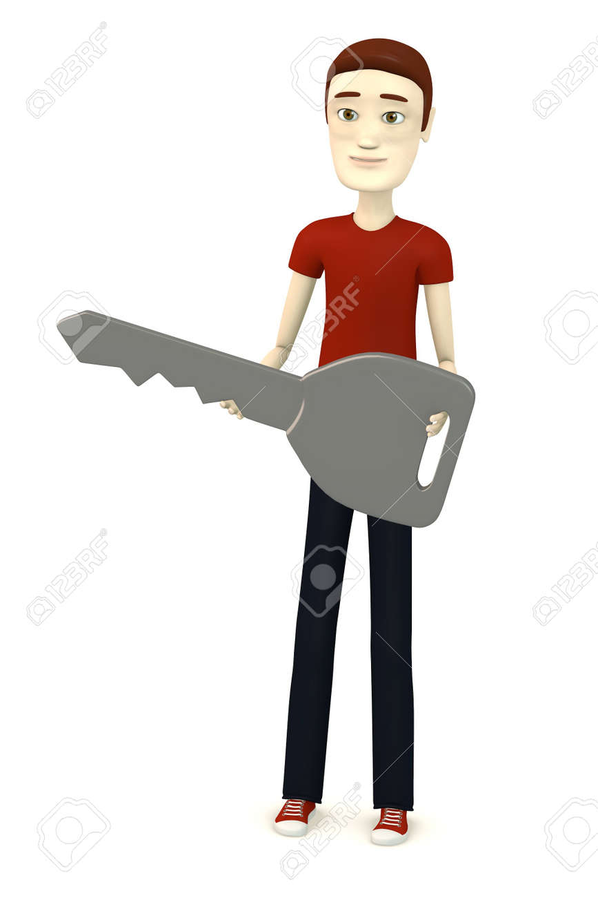 3d render of cartoon character  - with car key Stock Photo - 17911794