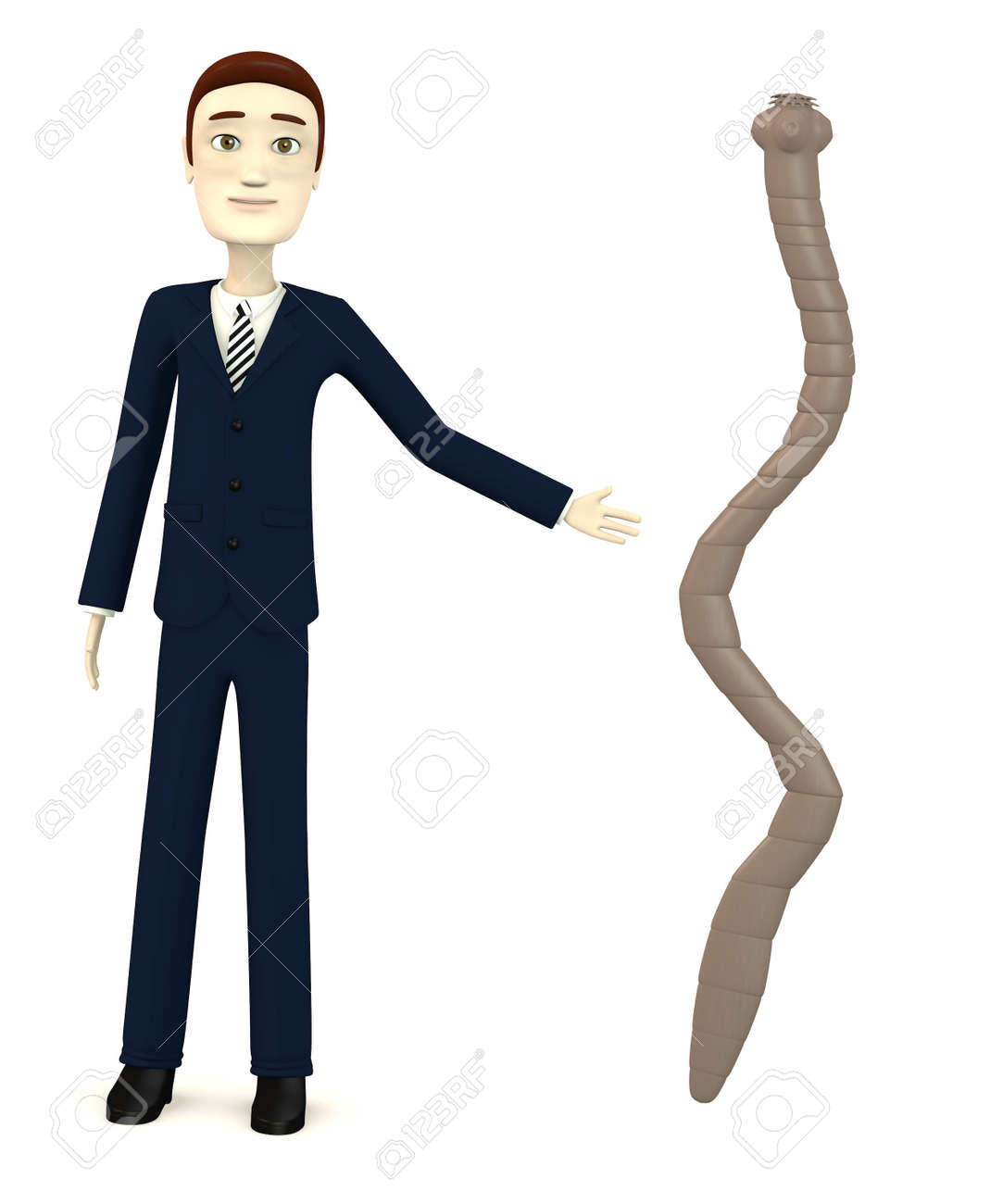3d render of cartoon character with tapeworm Stock Photo - 18164334