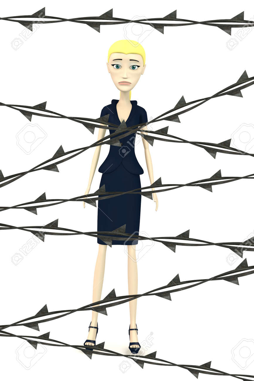 3d render of cartoon character with barbed wire Stock Photo - 18452903