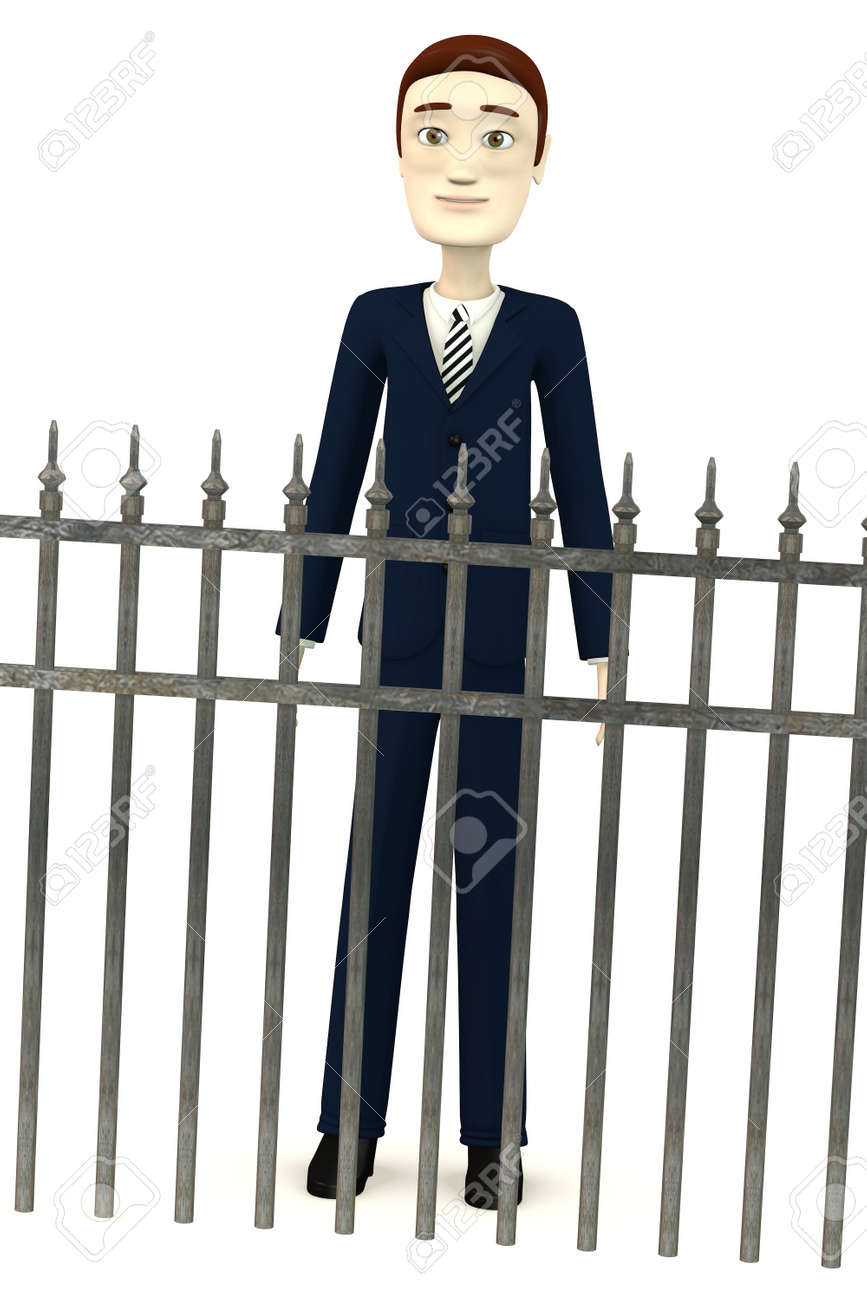 3d render of cartoon character with fence Stock Photo - 19647496