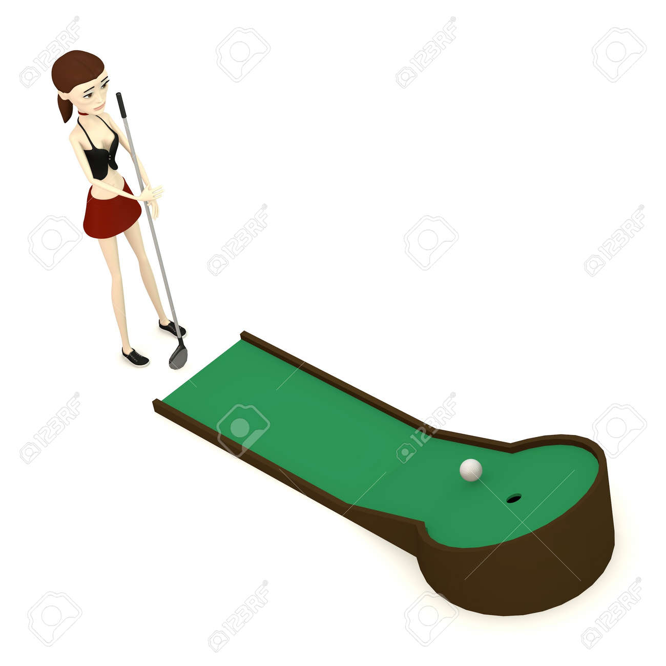 3d Render Of Cartoon Character With Minigolf Stock Photo Picture