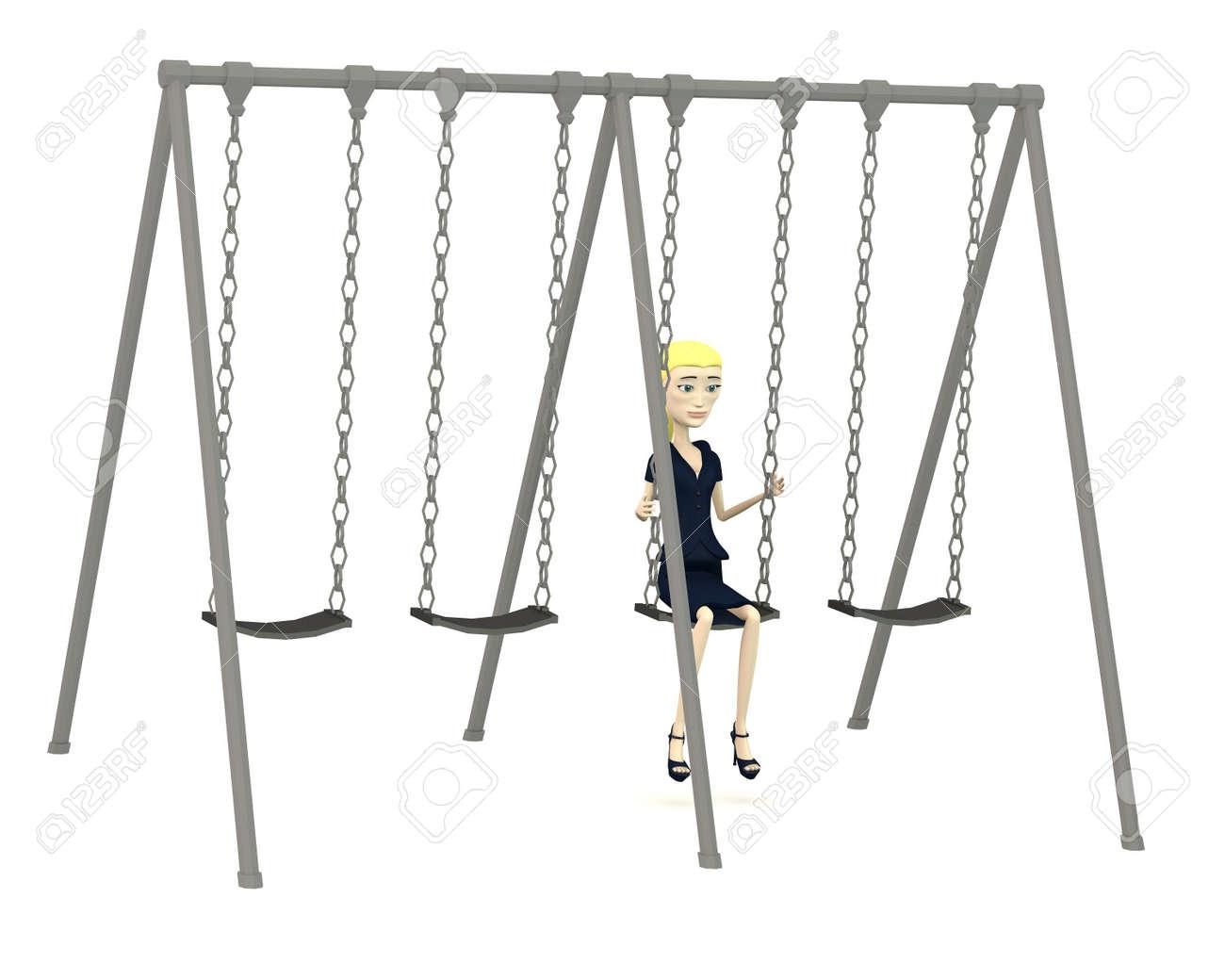 Dessin Balançoire rendu 3d de personnage de dessin animé dans la balançoire banque d