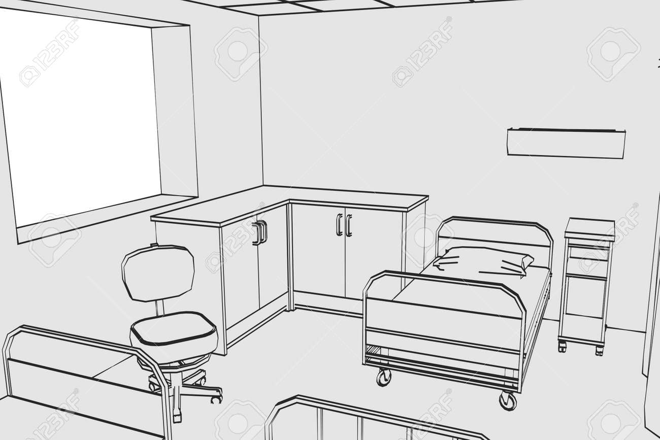 cartoon image of hospital room stock photo picture and royalty free rh 123rf com Hospital Room Drawing Hospital Interior Sketch