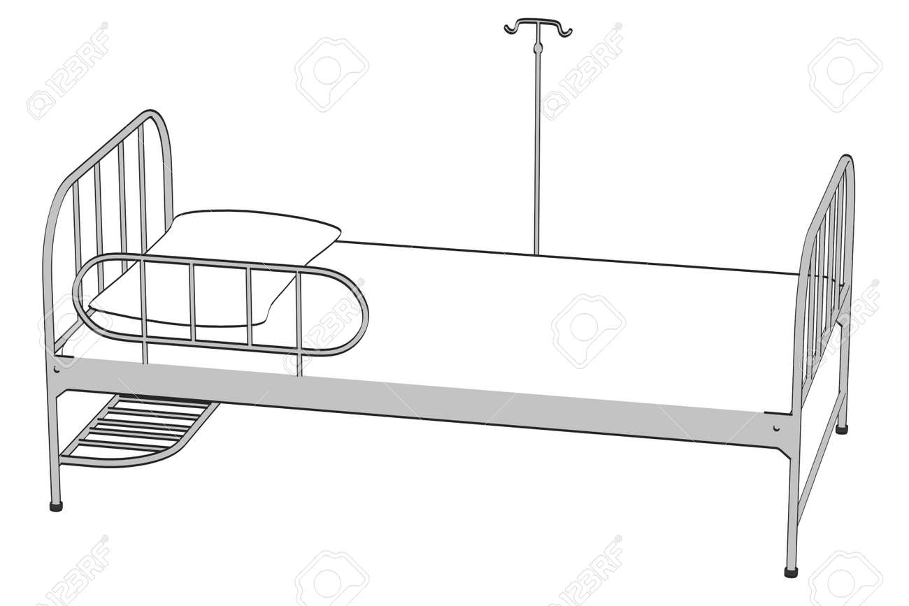 Cartoon Image Of Hospital Bed Stock Photo